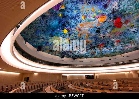 Ceiling sculpture in the Human Rights and Alliance of Civilizations Chamber, Palais des Nations, Geneva, Switzerland - Stock Photo