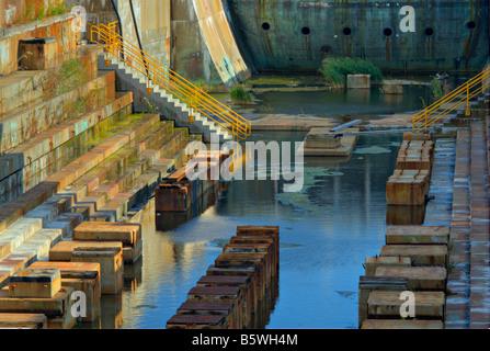Dry Dock 1 at Boston Navy Yard (formerly Charlestown Navy Yard), Boston National Historic Park, Boston USA - Stock Photo