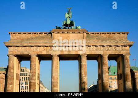 Back of the 18th century Brandenburg Gate (1781) in Berlin, Germany - Stock Photo