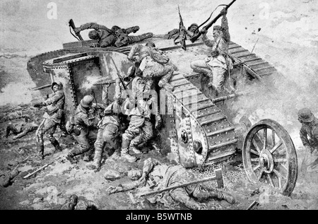 Contemporary World War One illustration of a futile attack by German soldiers on a British tank in France. - Stock Photo
