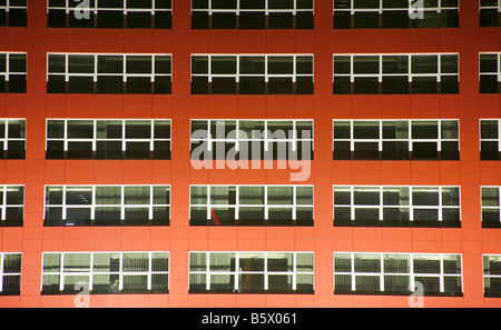 red building background taken at night in Zagreb Croatia - Stock Photo