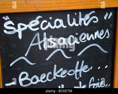 Alsatian restaurant blackboard specilaties menu with the typical and local baeckeoffe - Alsace - France - Stock Photo