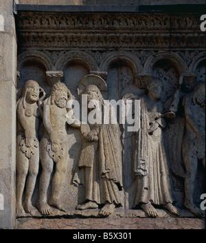 Italy: Modena: Duomo : Adam & Eve Expelled - Stock Photo