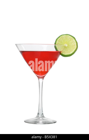 Cosmopolitan cocktail with lime cutout isolated on white background - Stock Photo