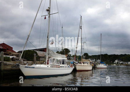 Boats docked outside the shipyard, Mystic Seaport, The Museum of America and the Sea, Mystic Connecticut - Stock Photo
