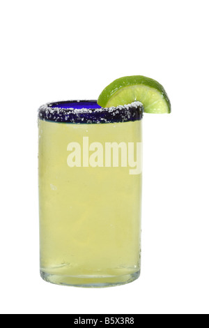 Margarita with lime cutout isolated on white background - Stock Photo