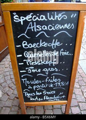 Alsatian restaurant blackboard specilaties menu  - Alsace - France - Stock Photo