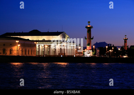 Facade of the 18th century Central Naval Museum during the White Nights in Saint Petersburg, Russia - Stock Photo
