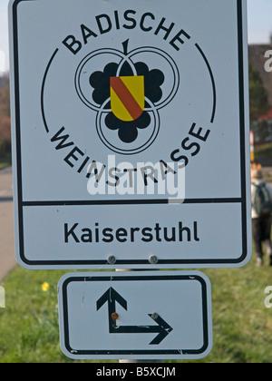 sign for wine route of Baden Kaiserstuhl Baden Württemberg Baden Wuerttemberg Germany - Stock Photo