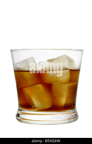 Glass of liquor with ice cutout isolated on white background - Stock Photo