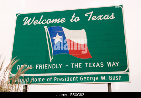 Welcome To Texas Sign USA - Stock Photo