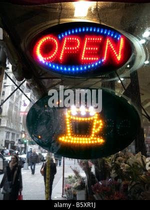 Neon sign advertising fresh coffee at a delicatessen in New York on Sunday November 16 2008 Richard B Levine - Stock Photo