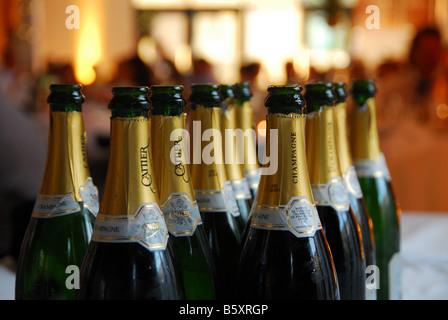 Bottles of champagne await drinking - Stock Photo