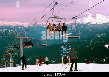 Downhill Skiing on Whistler Mountain in the Ski Resort of Whistler British Columbia Canada - Stock Photo