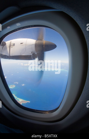 View from plane window over caribbean