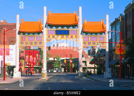 Chinatown, Vancouver, BC, British Columbia, Canada - Colorful Chinese 'Millennium Gate' on Pender Street - Stock Photo
