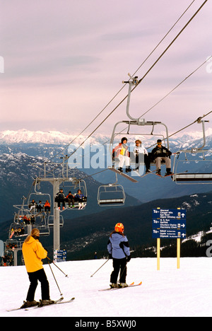 Skiing on Whistler Mountain in the Ski Resort of Whistler British Columbia Canada - Stock Photo
