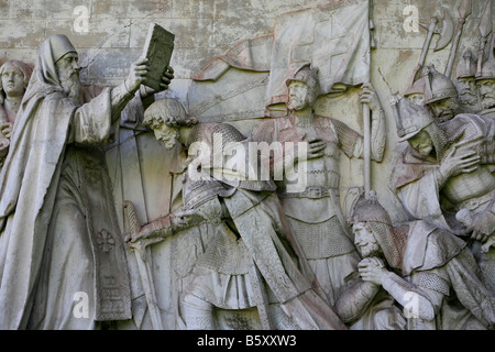 Monument of Dimitry Donskoy (1350-1389) getting blessed before the Battle of Kulikovo at the Donskoy Monastery in - Stock Photo