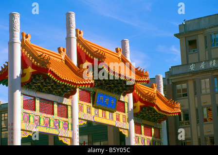 Chinatown, Vancouver, BC, British Columbia, Canada - Colourful Chinese 'Millennium Gate' on Pender Street - Stock Photo