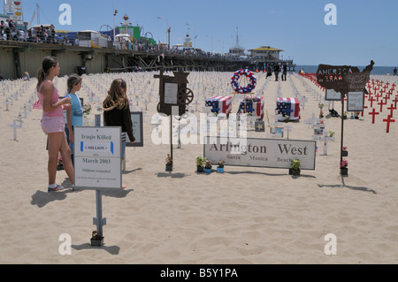 Arlington West on Santa Monica Beach as seen May 26, 2008 - Stock Photo