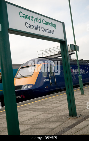 First Great Western express train on the platform at Cardiff Central railway station, wales UK - Stock Photo