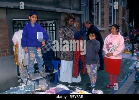 people, immigrant, immigrants, immigrant community, refugees, migrants, flea market, city of Brussels, Brussels - Stock Photo