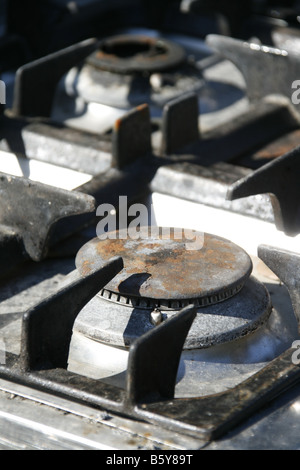 detail of rings on old gas cooker stove oven - Stock Photo
