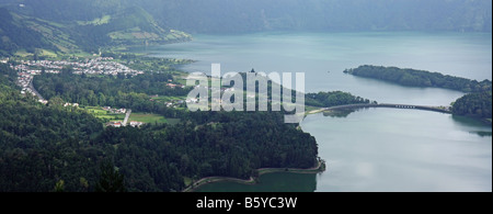 Panoramic view of the twin lakes Lagoa Verde and Lagoa Azul and the city of Sete Cidades São Miguel Azores Portugal - Stock Photo