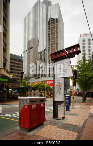 Sign for Cable Car Lambton Quay Wellington New Zealand - Stock Photo