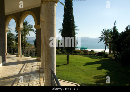 View from the church at Mount of Beatitudes on the northwestern shore of the Sea of Galilee,Israel - Stock Photo