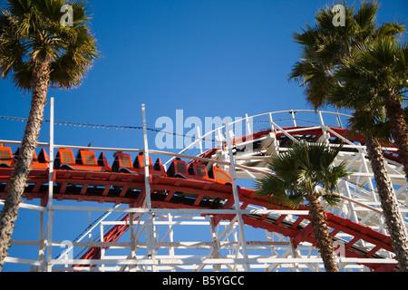 Giant Dipper wooden roller coaster Santa Cruz Beach Boardwalk Santa Cruz California United States of America - Stock Photo