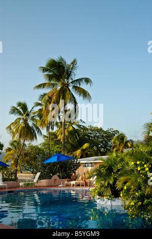 Grenada swimming pool private villa palm trees Spice Island Beach Resort couple lounging - Stock Photo