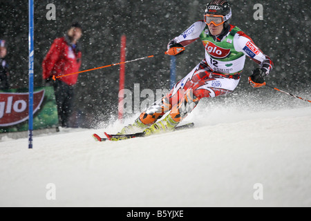 SCHLADMING AUSTRIA JAN 22 Kalle Palander FIN competing in the Audi FIS Alpine skiiing world cup slalom night race - Stock Photo