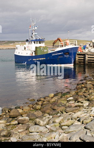 The Good Shepherd IV boat that serves Fair Isle being loaded with ...