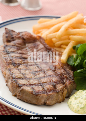 Steak Frite with Watercress and Barnaise Sauce - Stock Photo