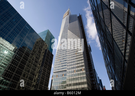 View of new Bank of America Tower under construction at One Bryant Park on Sixth Avenue between 42nd and 43rd Street - Stock Photo