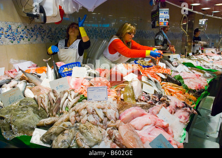 Fish and seafood stalls at La Boqueria market in Barcelona Spain Europe - Stock Photo