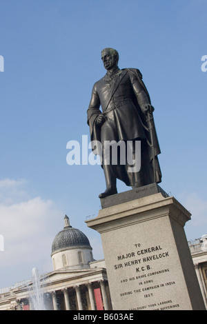 Statue Major General Sir Henry Havelock  KCB in Trafalgar Square London GB UK - Stock Photo