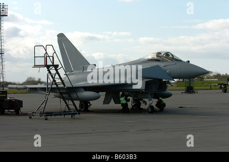 A Royal Air Force Typhoon fighter jet pictured on arrival for the first time at RAF Coningsby Lincolnshire - Stock Photo