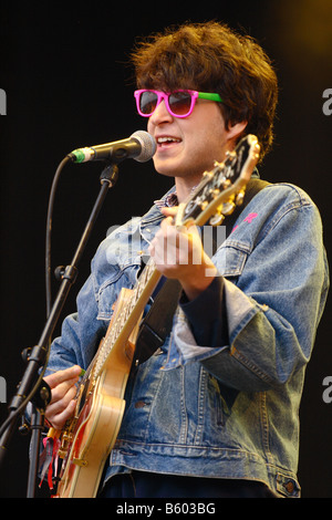 Vampire Weekend pop group band lead singer Ezra Koenig performing live on stage at Glastonbury Festival June 2008 - Stock Photo