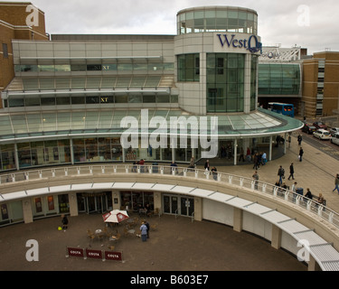 An overview of the main entrance to the West Quay shopping centre in Southampton Engand - Stock Photo