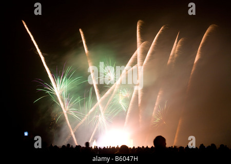 Firework display at Roundhay Park Leeds UK - Stock Photo