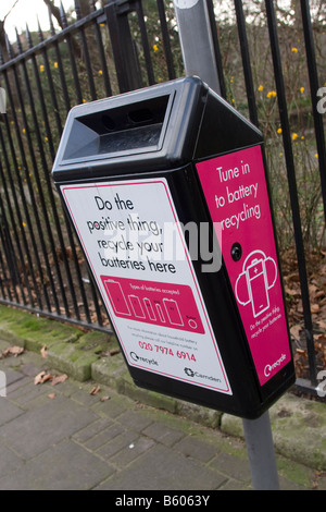 Recycling box for batteries in London Borough of Camden London GB UK - Stock Photo