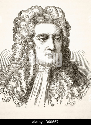 Sir Isaac Newton 1642 to 1727 English physicist and mathematical scientist - Stock Photo
