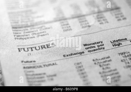 Futures section of business newspaper. - Stock Photo
