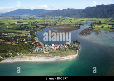 Collingwood and Aorere River Estuary Golden Bay Nelson Region South Island New Zealand aerial - Stock Photo