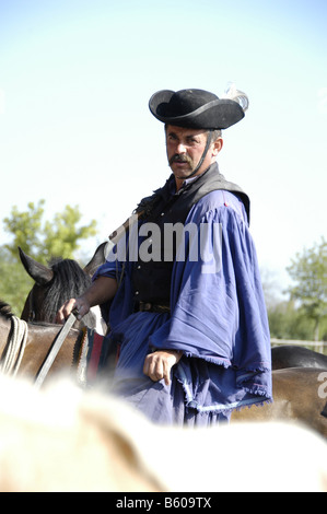 Hungary, A chicos (cowboy) at a farm in the Puszta near Kalocsa - Stock Photo