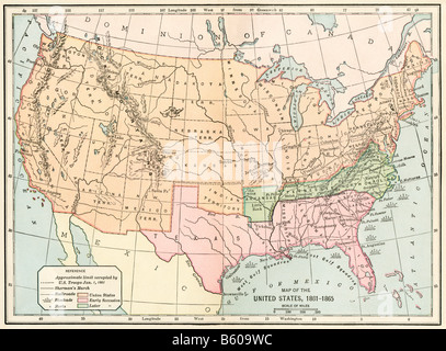 Map of the USA during the Civil War circa 1862 Stock Photo