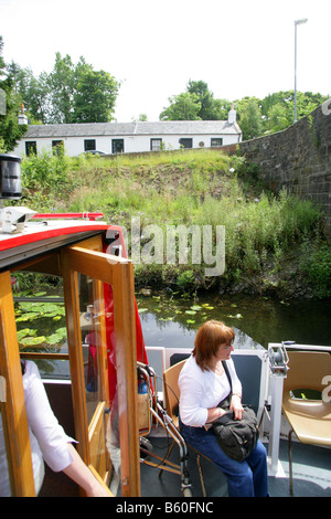 THE 'YARROW' SEAGULL TRUST PLEASURE BOAT FOR THE DISABLED, AT CADDER BRIDGE,ON THE FORTH & CLYDE CANAL,NEAR GLASGOW - Stock Photo