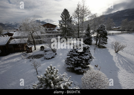 Fresh snow fall over Kaprun near Zell an See Austria Europe - Stock Photo